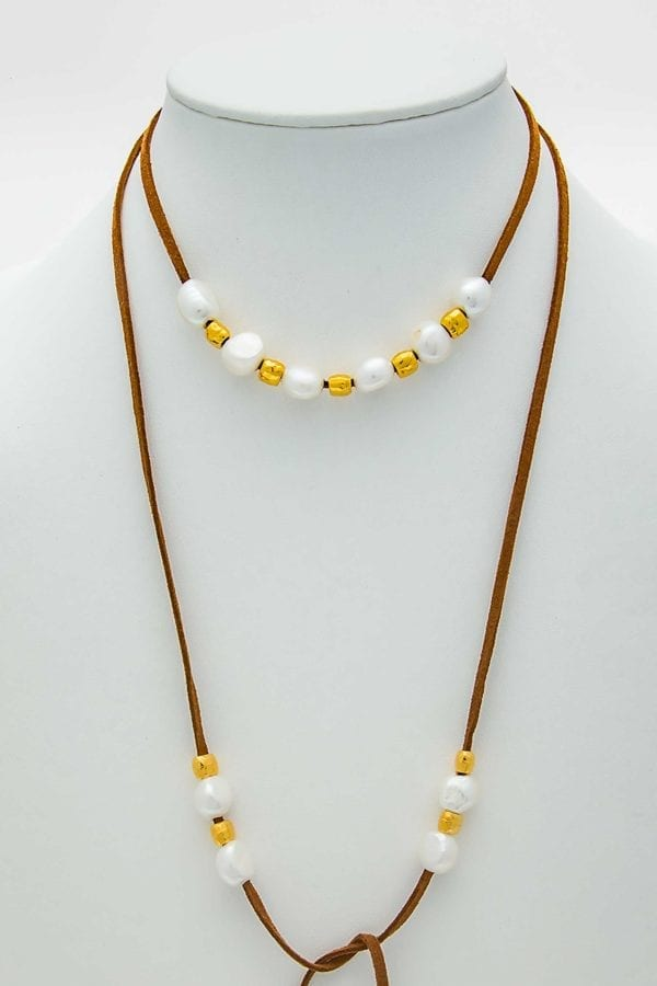 Long Pearl, Leather and Gold Beads Bohemian