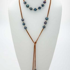 Long Leather Baroque Pearl Lariat Necklace