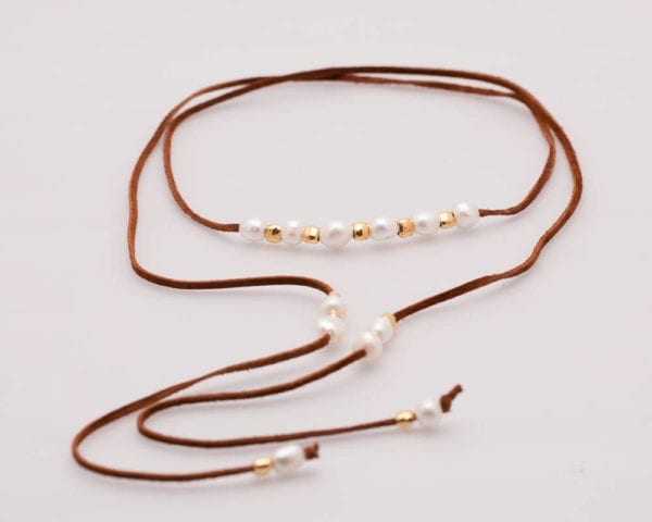 Long Pearl, Leather and Gold Beads Bohemian-Chic Lariat