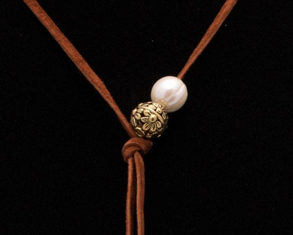 Simple Leather and Pearl Lariat Necklace