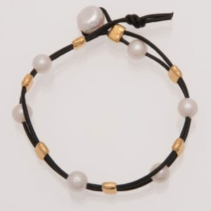 Black Leather and White Pearl Bracelet with Gold Barrel Beads, BOHO Pearl and Leather Bracelet