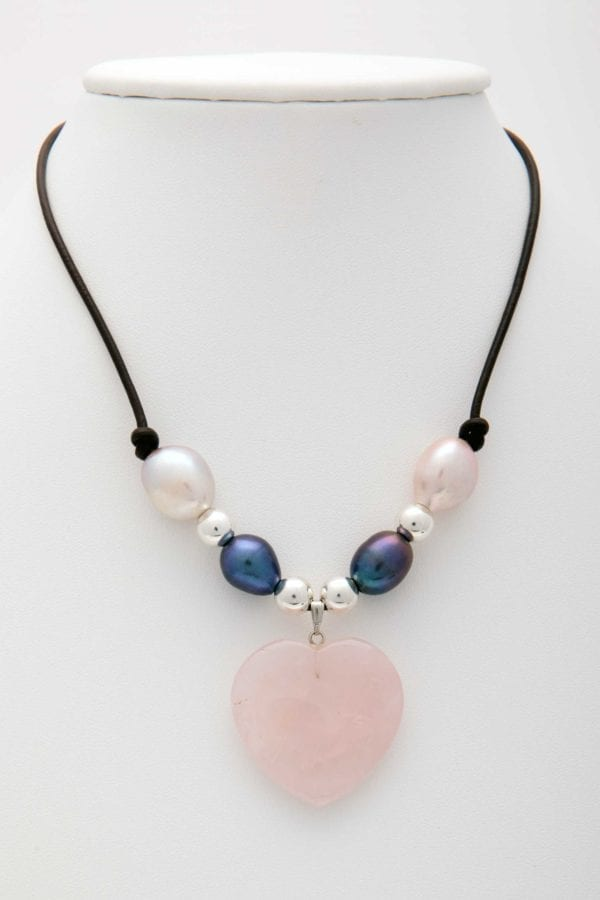 ose Quartz Heart with Silver Beads and Blue and White Large Baroque Pearl Necklace