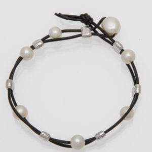 Black Leather and White Pearl Bracelet with Silver Barrel Beads, BOHO Pearl and Leather Bracelet