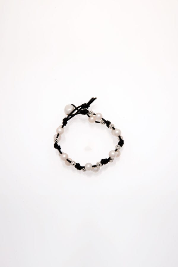 White Freshwater Rice Pearl Bracelet Double Stranded Black Leather with Silver Beads