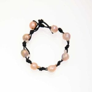 Wrinkled Edison Pearl with Silver Heart Beads Bracelet