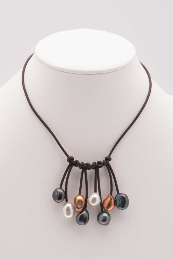 Leather and Pearl Bib Choker, Fringe Bib Style, Dangling Pearls Leather Necklace, Leather and Pearl Jewelry