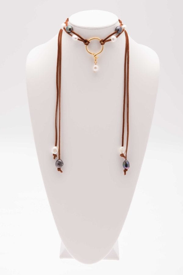 Long Freshwater Pearl and Leather Lariat Necklace, Adjustable Pearl Choker Necklace, Leather and Pearl Jewelry